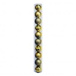 Новогодние золотые Шары (туба), диаметр 6 см, 10 шт.