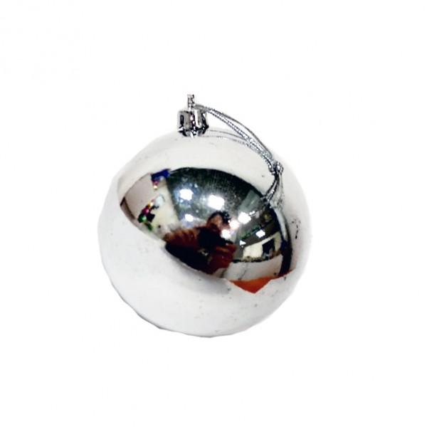 Елочный серебряный шар, диаметр 7,5 см, 1 шт.