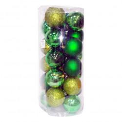 Новогодние зеленые Шары (набор), диаметр 8 см, 18 шт.