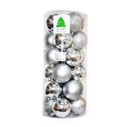 Новогодние серебряные Шары (набор), диаметр 6 см, 24 шт.
