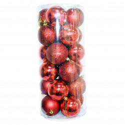 Новогодние красные Шары (набор), диаметр 6 см, 24 шт.