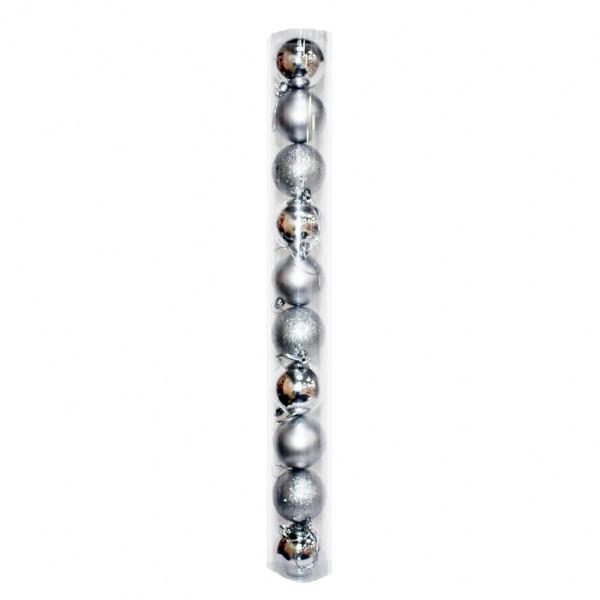 Новогодние серебряные шары (туба), диаметр 6 см, 10 шт.