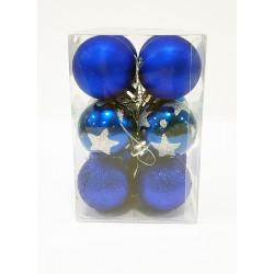 Шары новогодние, диаметр 5 см, коробка из 12 шт, 3 фактуры, цвет синий, пластик