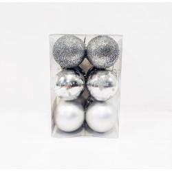Шары новогодние, диаметр 5 см, коробка из 12 шт, 3 фактуры, цвет серебро, пластик