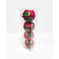 Шары новогодние, диаметр 10 см, упаковка из 4 шт, пластик, красные с зеленым рис..