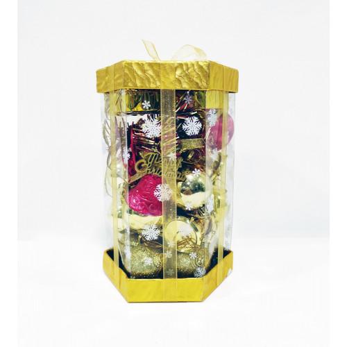 Набор ёлочных украшений, цвет золото и красный, пластик