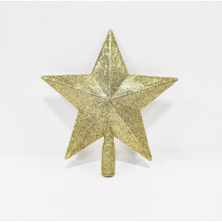 Звезда на ёлку 20 см, пластик, цвет золотой