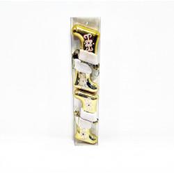 Елочное украшение Сапожок 4 штуки, золотые