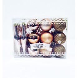 Набор ёлочных украшений из 47 предметов (шары, бусы, верхушка), пластик, цвет шампань