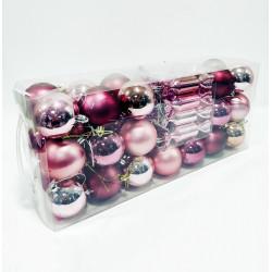 Игрушки новогодние набор из 42 предметов (шары матовые и глянцевые, конфеты, бусы, звезда), пластик