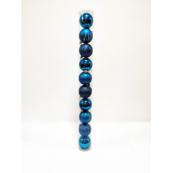 Шары новогодние, диаметр 6 см, туба из 10 шт, 3 фактуры, цвет голубой, пластик