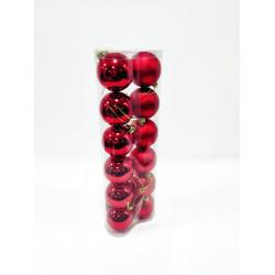 Шары новогодние, диаметр 6 см, двойная туба из 12 шт, матовые и глянцевые, цвет красный, пластик