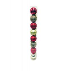 Набор шаров 8 шт, диаметр 6 см, пластик, в тубе, цвет коралловый и шампань