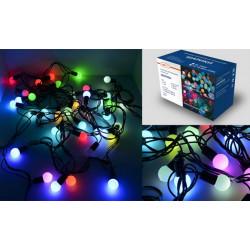 Гирлянда светодиодная, шарики, 5 метров, черный шнур, матовые, 40 ламп, мультиколор (7 цветов)
