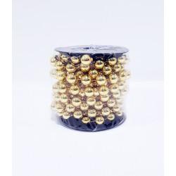 Бусы на елку, шарообразные, диаметр 12 мм, длина 5 м, цвет золото, пластик