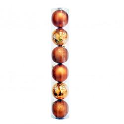 Елочные оранжевые Шары (туба), диаметр 10 см, 6 шт.