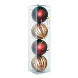 Елочные красные и цветные шары, диаметр 10 см, 4 шт.